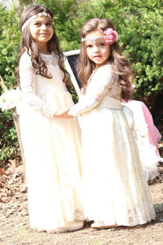 Flower Girl Dress,Ivory Lace Girl Dress,Lace Flower Girl Dress,Ivory Baby Dress,Long Sleeve Flower Girl Dress M21