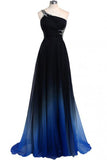 One Shoulder A-line Chiffon Prom Dress,Sweep Train Evening Prom Dress With Beads,SVD429