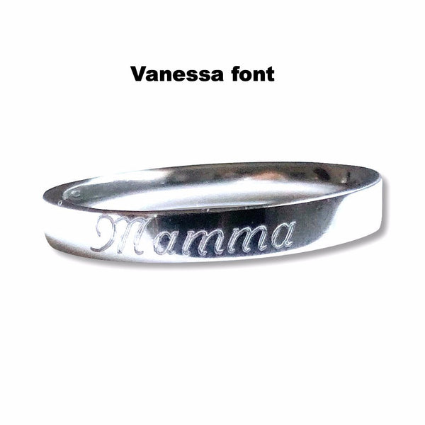 Engraved Stainless Steel Rings - Hand to Heart Jewelry