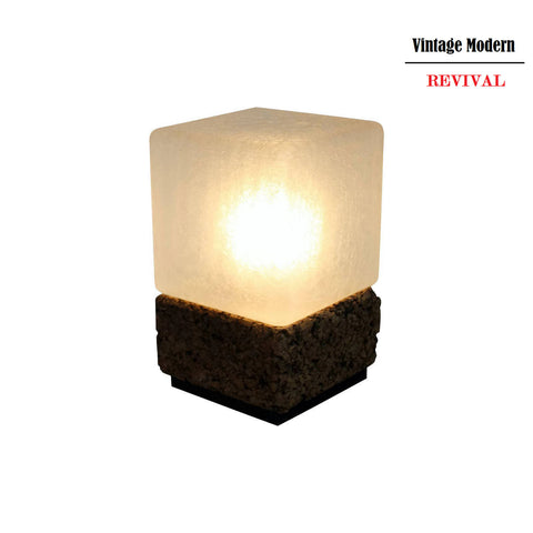 Vintage Modern Cube Cork & Glass Shade Table Lamp
