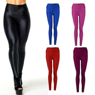 Leggins- Fashion Women Pants Shiny Elastic High Waist Stretchy Candy Colors Ladies Dance Leggings Slim Fit Nine pants - World Salsa Championships