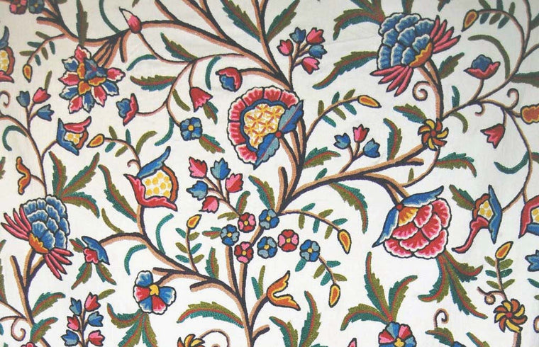 "Cotton Crewel Embroidered Fabric ""Tree of Life"", Multicolor #DDR001"