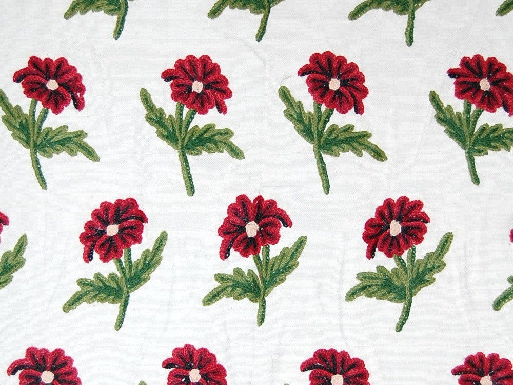 Cotton Crewel Embroidered Fabric Bloom, Multicolor #FLR011