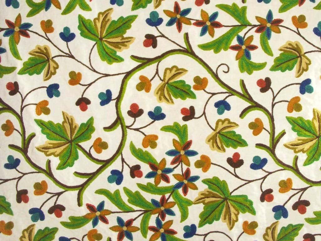 Cotton Crewel Embroidered Fabric Maple, Multicolor #CHR301