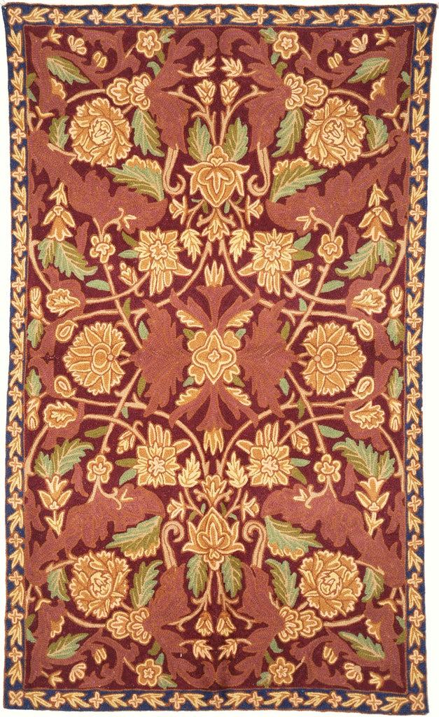 ChainStitch Tapestry Woolen Rug, Multicolor Embroidery 2.5x4 feet #CWR10013