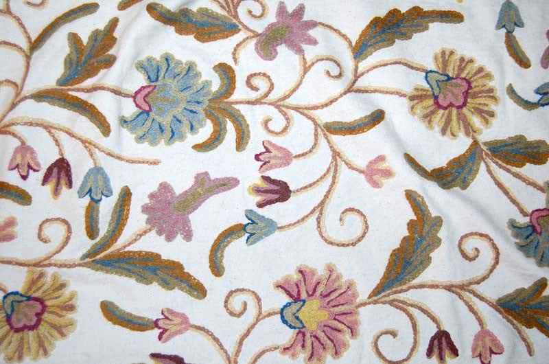 Custom Made Crewel Embroidered Fabric #3361