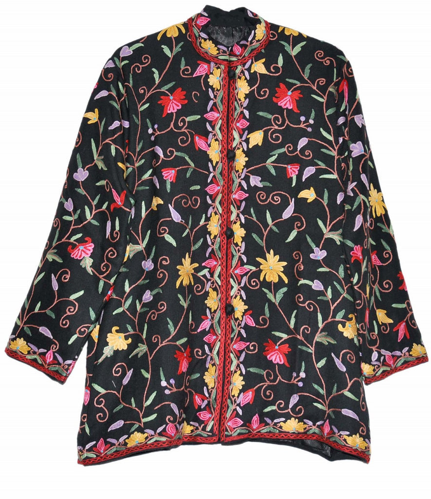 Embroidered Woolen Jacket Black, Multicolor Embroidery #AO-005