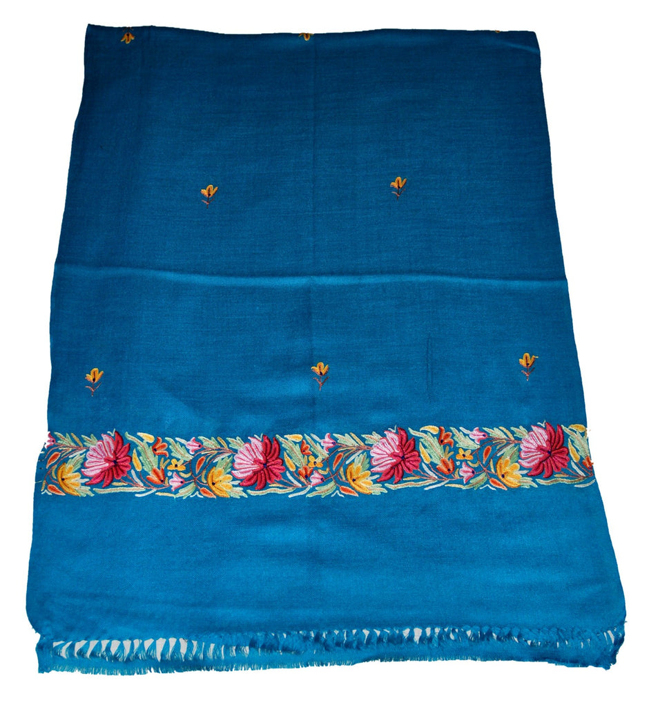 Embroidered Wool Shawl Scarf Turquoise, Multicolor Embroidery #WS-133