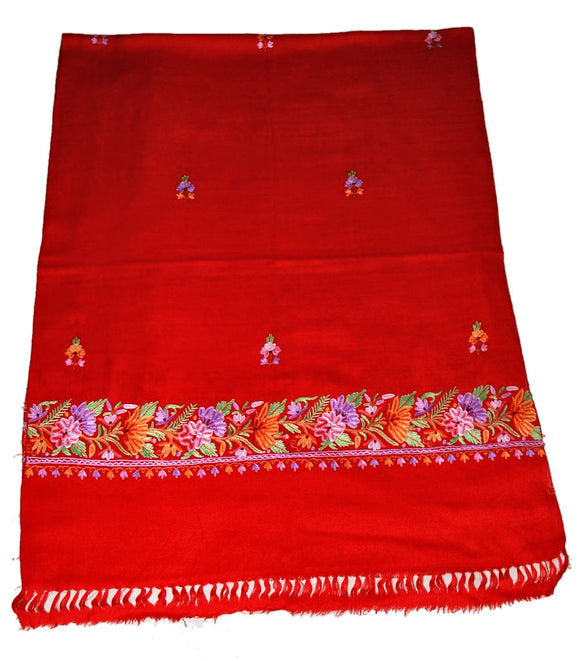 Embroidered Wool Shawl Scarf Red, Multicolor Embroidery #WS-134
