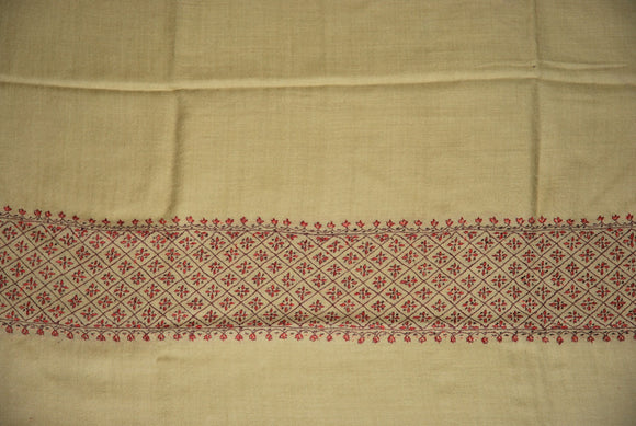 "Embroidered Wool Shawl Beige, Multicolor ""Sozni"" Embroidery #WS-502"