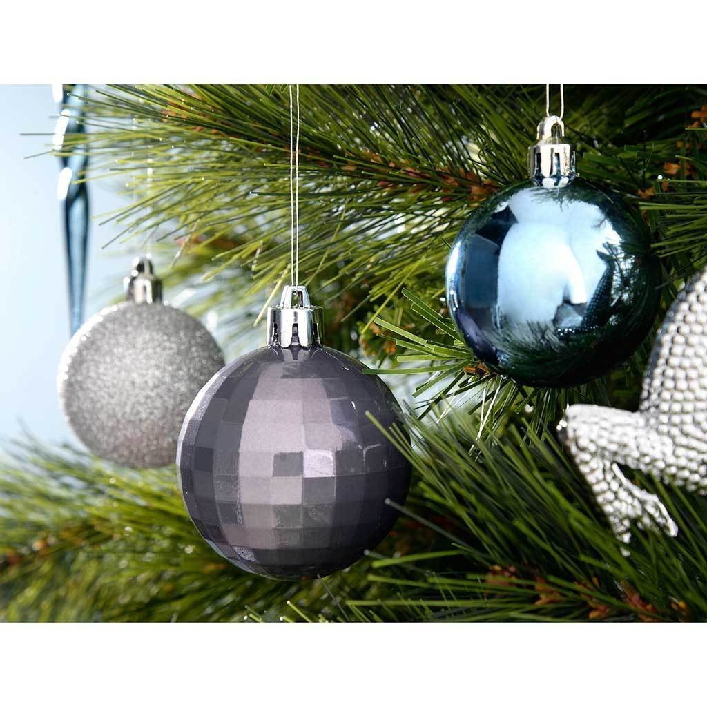Shatterproof Luxury Christmas Tree Baubles Blue Charcoal