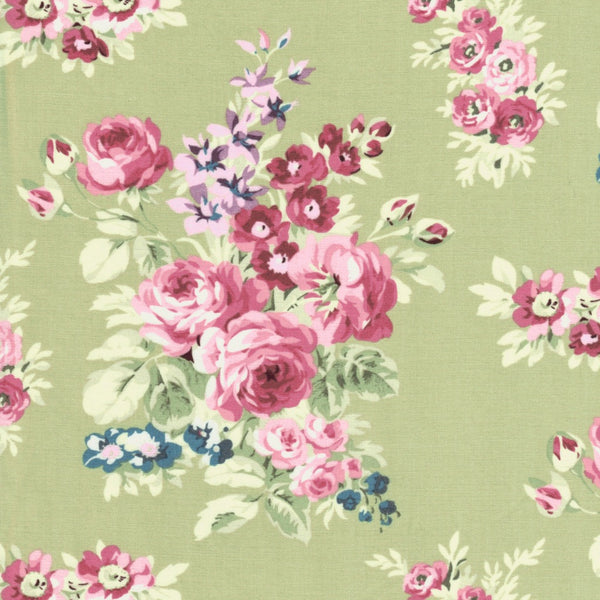 Anne of Green Gables Floral Rose Cluster Flowers Fabric on Green