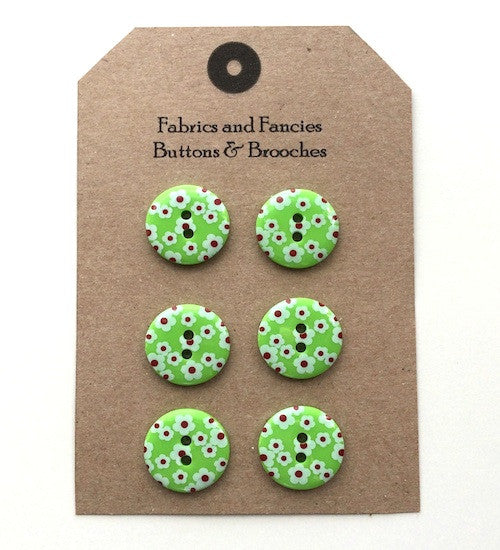 Ditsy Flower Green Buttons