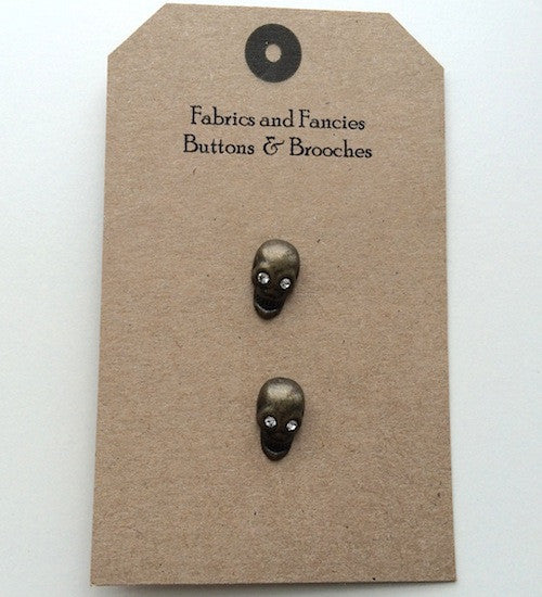 Antiqued Skull Gold Buttons