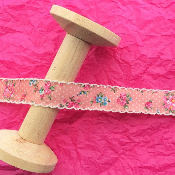 24mm Floral Bouquet Ribbon in Pink