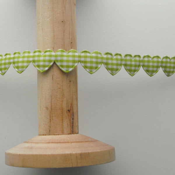 15mm Gingham Heart Trim in Green