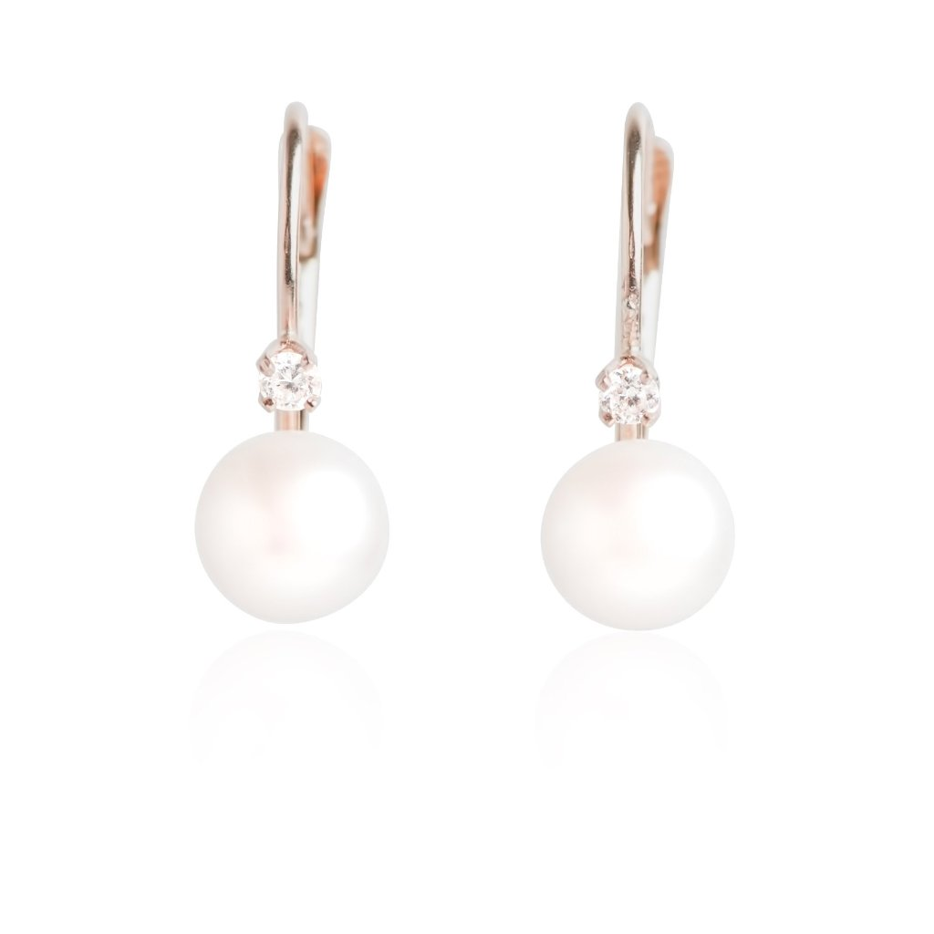PEARL AND YELLOW GOLD DROP DOWN EARRINGS