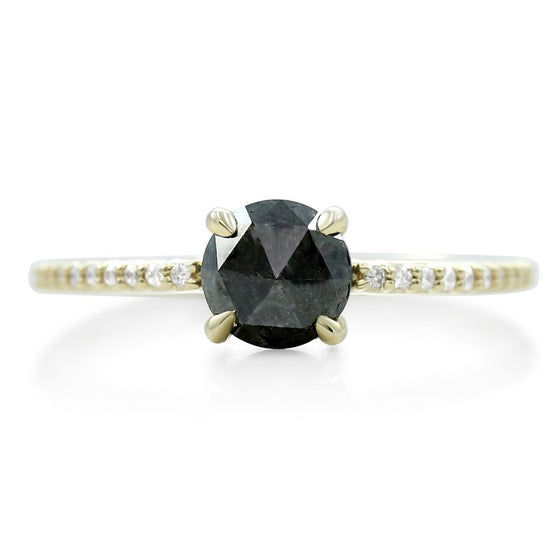 rose cut black diamond right hand ring with yellow gold and white diamonds
