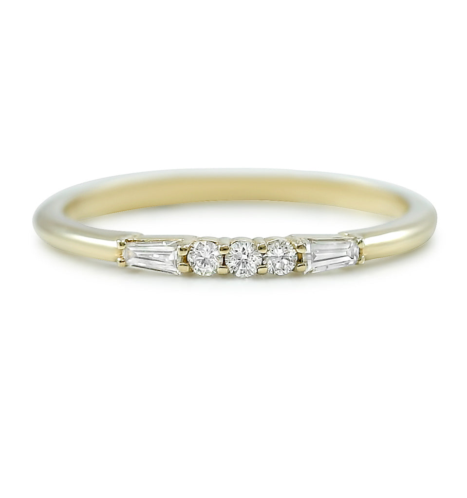 baguette and round diamond wedding band available in 14k white or yellow gold