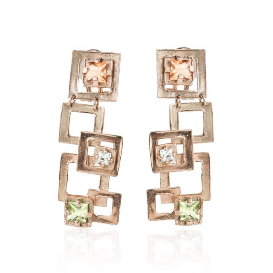 colored stone estate hanging earrings with 18 karat yellow gold