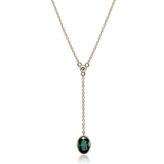 BEZEL SET GREEN TOURMALINE GEMSTONE NECKLACE WITH A YELLOW GOLD DROP CHAIN