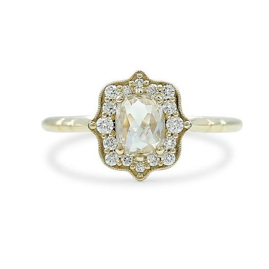 preset engagement ring with rose cut champagne cushion diamond a white diamond halo and yellow gold band