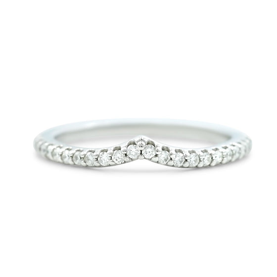 14k white gold diamond v contour wedding band 1/5tcw round white diamonds