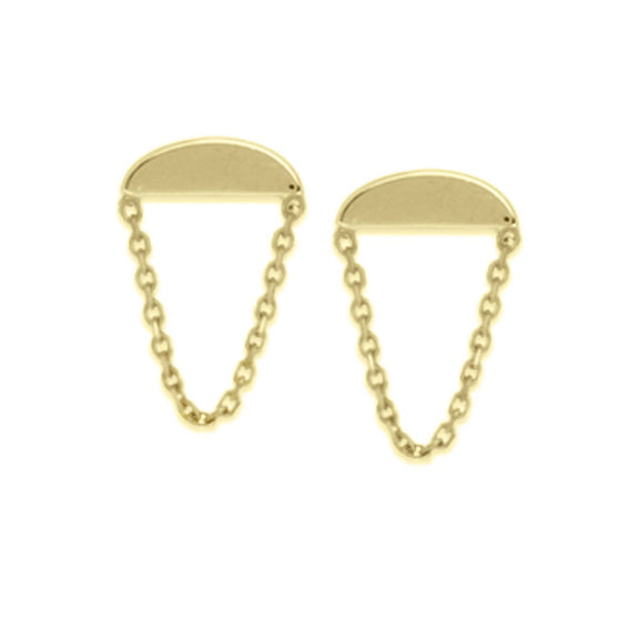 wedge shaped 14k yellow gold stud earrings with chains
