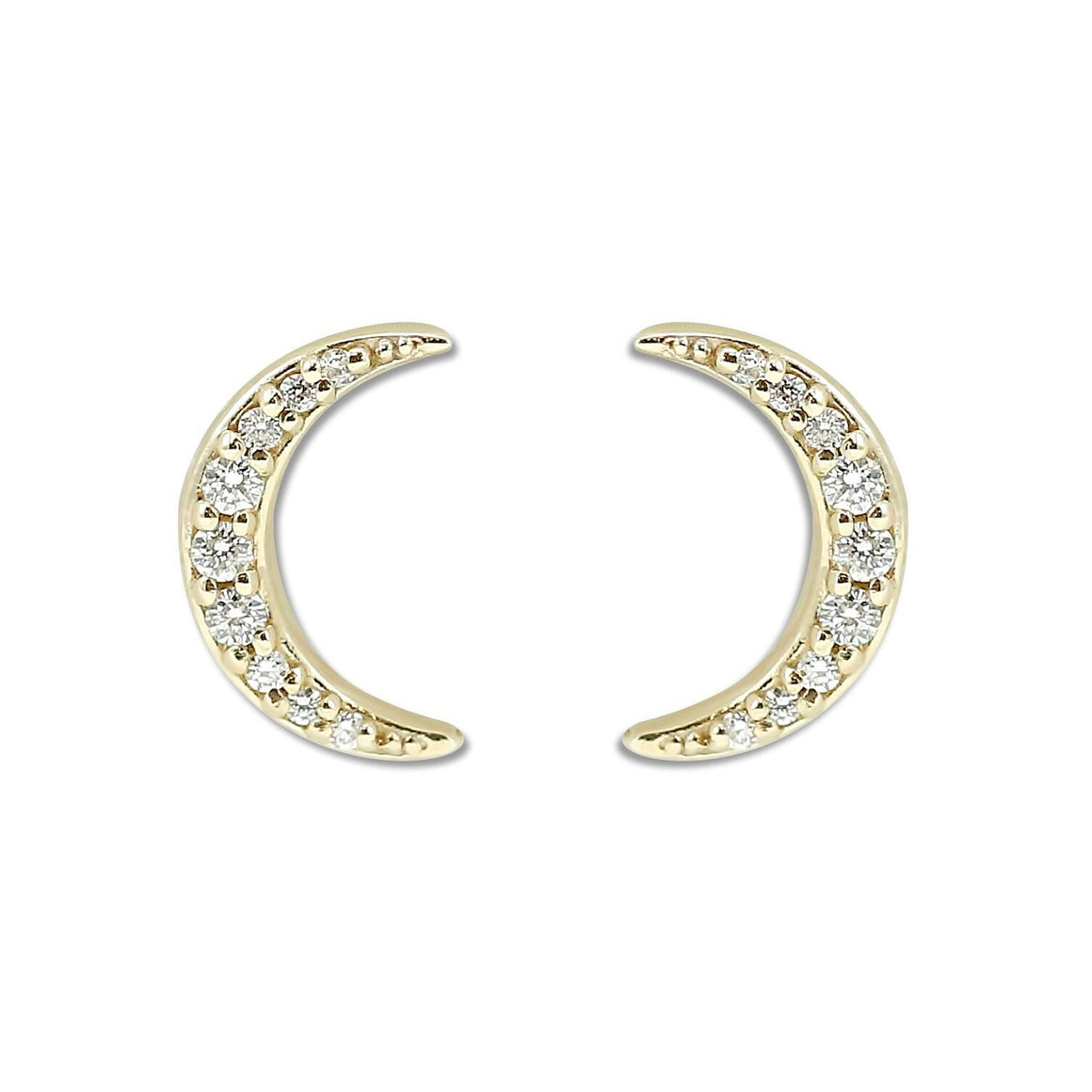 14k yellow gold half moon crescent diamond stud earrings ~0.10tcw diamonds