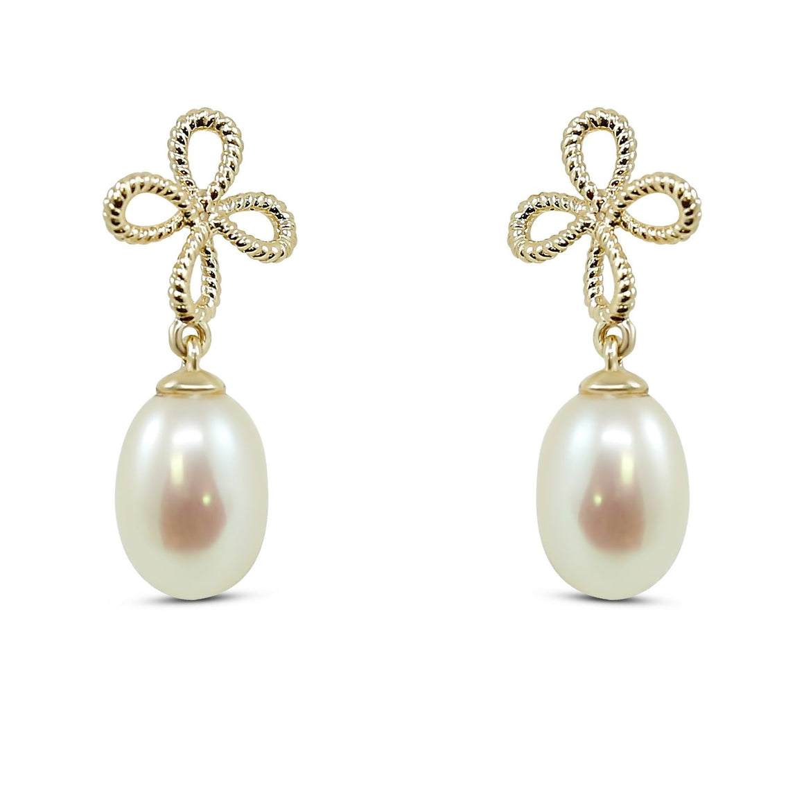 14k yellow gold freshwater pearl dangly earrings with fun bow design