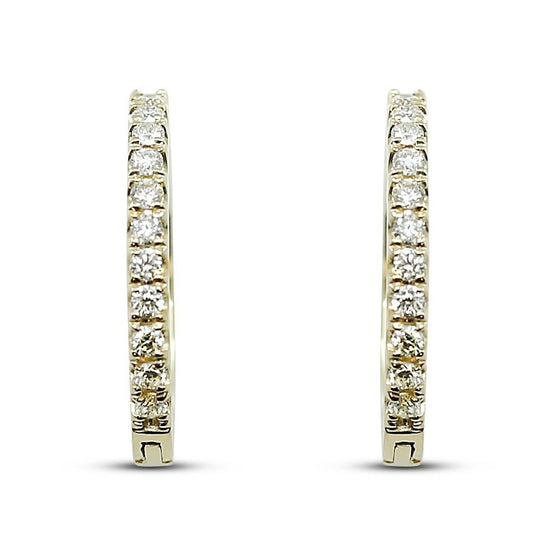diamond huggie hoop earrings available in yellow, rose or white gold