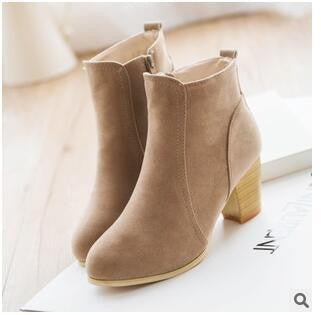 Short Cylinder Boots With High Heels Boots Shoes Martin Boots Women Ankle Boots With Thick Scrub#HDS213