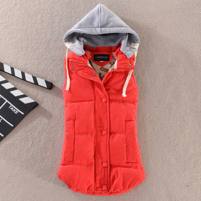 Online discount shop Australia - Fashion All-match Cotton Vest Women Patchwork Sleeveless Hooded Collar Casual Coat Colete  Waistcoat