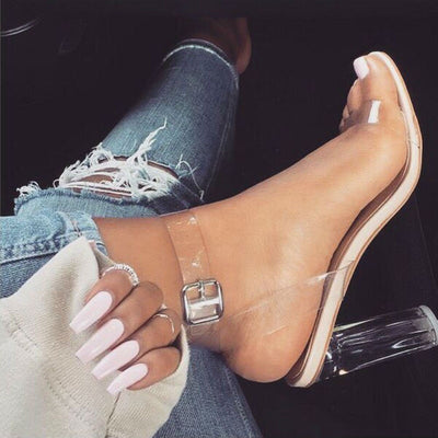 Women Pumps Celebrity Wearing Simple Style PVC Clear Transparent Strappy Buckle Sandals High Heels Shoes Woman