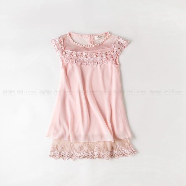 New Costume Girls Princess Dress Children's Evening Clothing Kids Chiffon Lace Dresses Baby Girl Party Pearl Dress