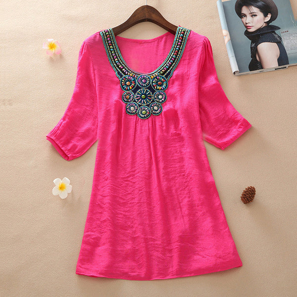 New Fashion transparent Clothing Women V-Neck Beading long Linen Shirts Loose Tops And Women Blouses L-XXXL 6017