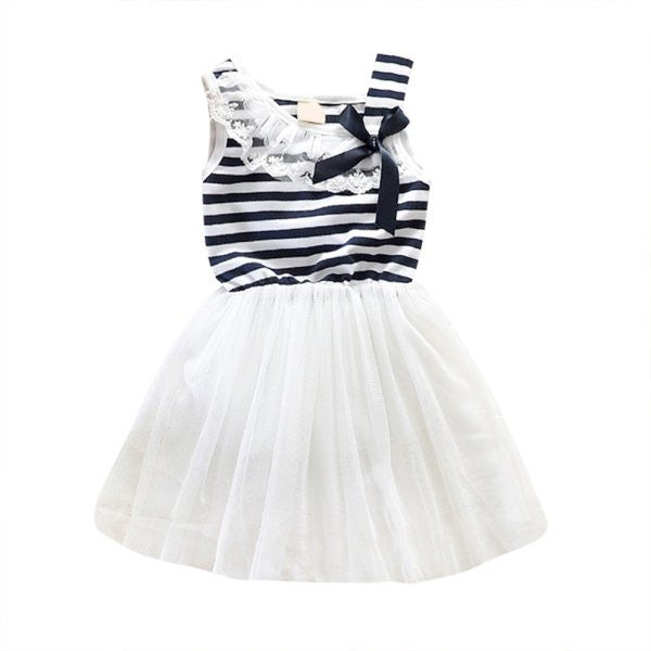 Online discount shop Australia - Baby Girls Cotton Sleeveless Dresses Lace Bow-knot Striped Bubblet Tutu Dress 1-4Y