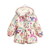Jackets & Coats Girls Graffiti Parkas Hooded Baby Girl Warm Outerwear Cartoon Animal Children's Jacket