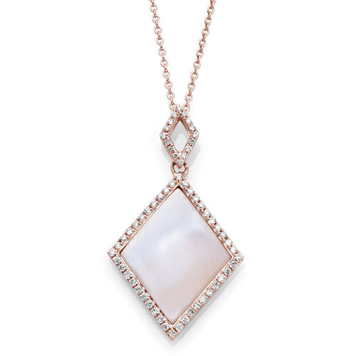 14K Rose Gold Pearl & Diamond Necklace - Crestwood Jewelers