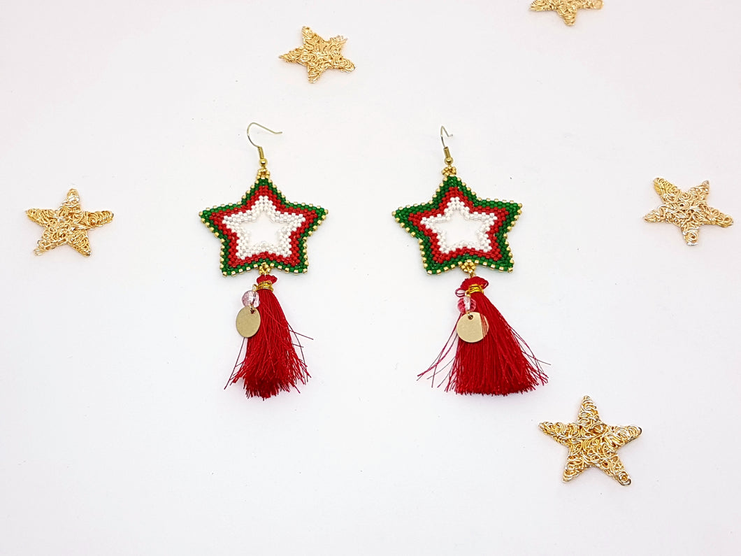 Star Earrings in Red, Gold and Green