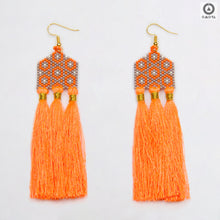 Orange and Grey Stylized Earrings