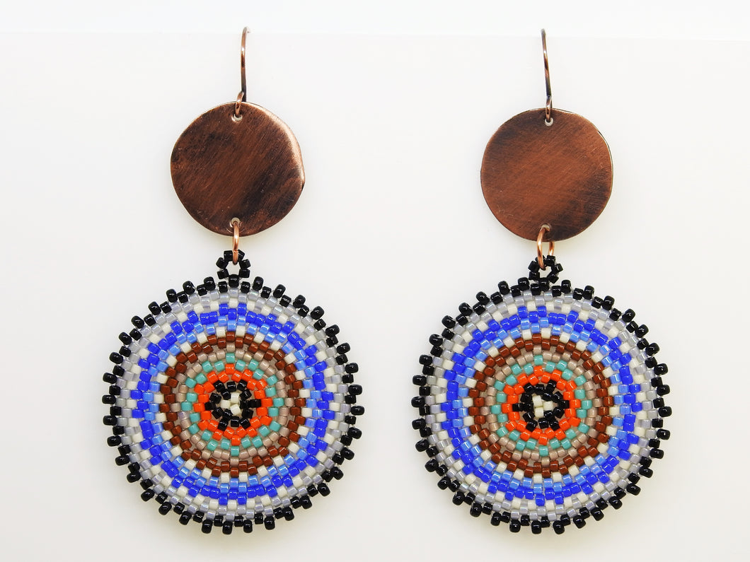 Blue Brown Circlet Earrings