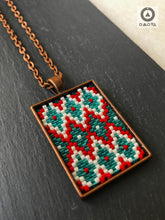 Ikat Short Pendant - Red, Mint Green and Cream