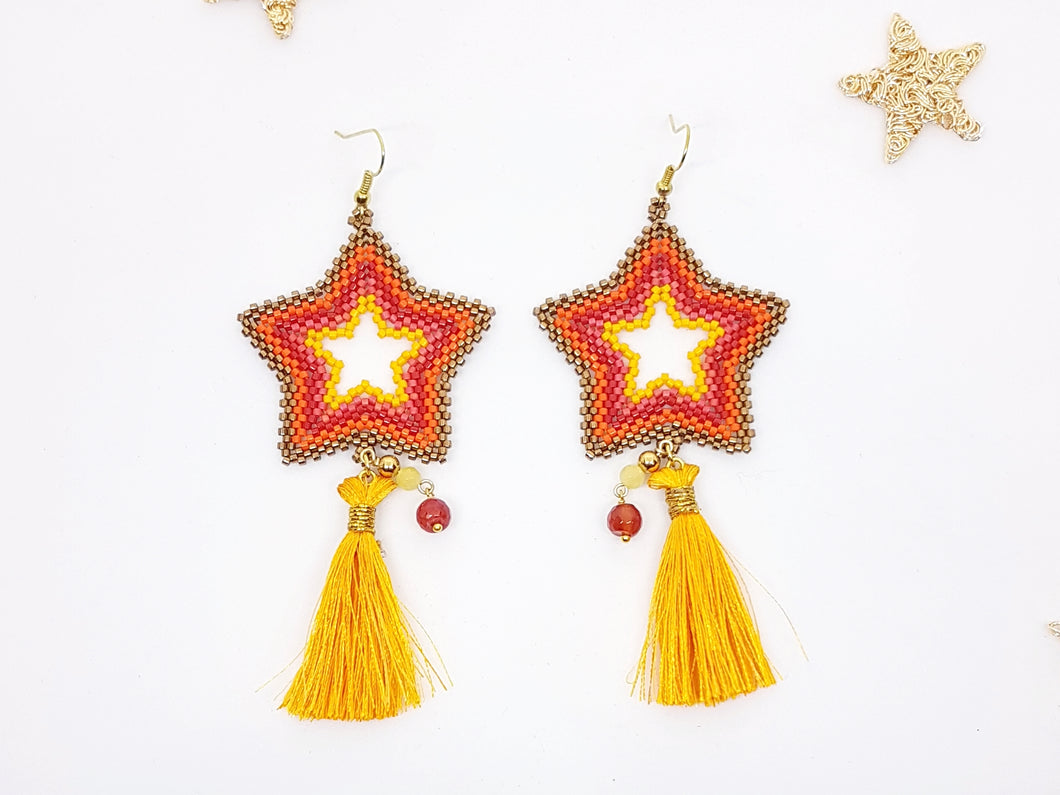 Star Earrings in Pink and Yellow