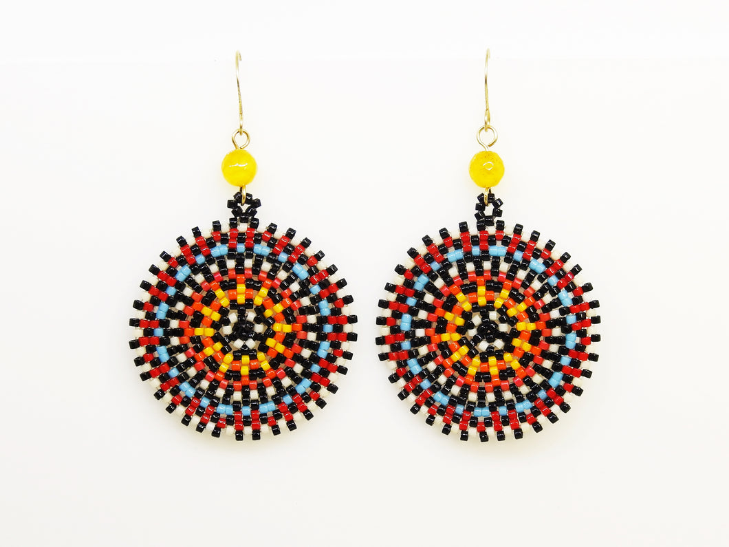 Red Wheel Earrings