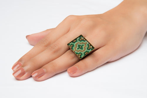 Green and Gold 'Mandala' Square Ring
