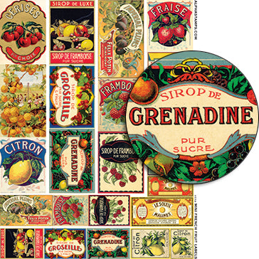 Mini French Fruit Labels Collage Sheet