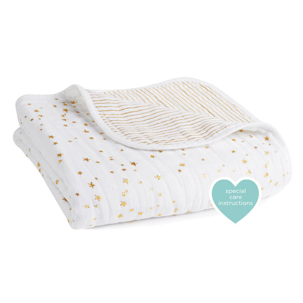 Aden and Anais Classic Dream Blanket Metallic Gold