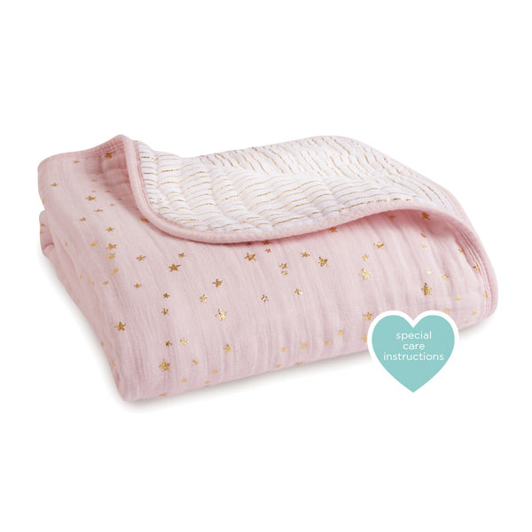 Aden and Anais Classic Dream Blanket Metallic Primrose