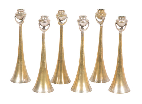 Set of Six Austrian Secession Style Silvered Candlesticks